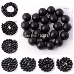 """Wholesale-Free Shipping 4.6.8.10.12.14.16.18mm Frosted Round Shape Black Agate Onyx Loose Beads Strand 15"""" Jewellery Making wj55"""