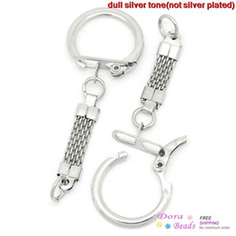 Key Chains & Key Rings Silver Tone 6.2cm x 2.3cm,30PCs,Key Chains Length:3.8cm (B27327)