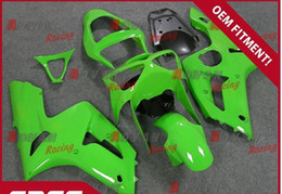 Injection molding painted all green custom fairing Kawasaki Kawasaki Ninja ZX6R 2003-2004 04