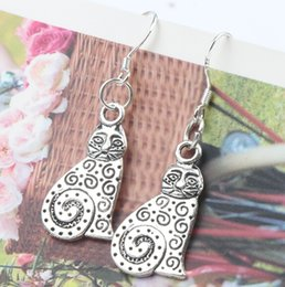 Wholesale MIC New Dots Swirl Metal Cat Charm Pendant Earrings x36 mm Silver Fish Ear Hook Dangle Jewelry E1158