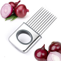 Wholesale Easy Cut Onion Holder Slicer Vegetable tools Tomato Cutter Stainless Steel Kitchen Gadgets Meat Shredder Stinky Hands B001