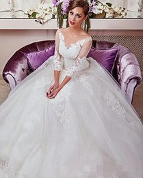 2016 Gorgeous Lace Ball Gown Wedding Dress 3 4 Long Sleeves Lace-Up Applique Chapel Train Elegant Wedding Dresses Bridal Gowns