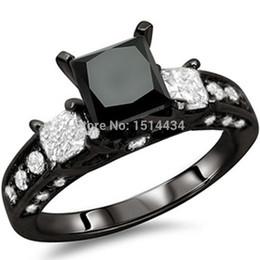 Size 5-11 Black Rhodium Wedding Ring Princess Cut CZ Engagement Propose Anniversary Cocktail
