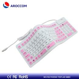 Al por mayor-rosado a estrenar Aroccom BK04 USB del teclado suave del Roll-up de silicona flexible con conexión de cable para PC portátil de regalo de moda Envío gratuito desde usb con cable al por mayor del teclado de silicona fabricantes