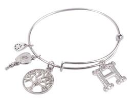 Nouvelle arrivée 5PCS Fashion Bracelet ton argent Lettre initiale Charm Bracelet extensible Fil livraison gratuite à partir de bracelets de charme initiales fabricateur