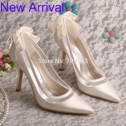 Wholesale Latest Design Satin Pointed Toe Ivory Wedding Bridal Shoes Bow Women Pumps Stiletto Heel
