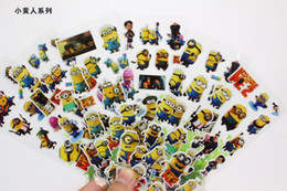 Wholesale 30 Sheets Minions Despicable Me stickers PVC Puffy Stickers D Cartoon Craft Sticker children dimensional bubble stickers