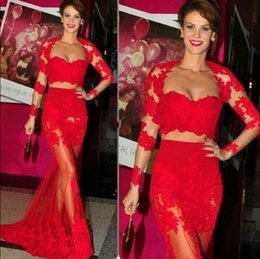 Two Piece Red Lace Long Sleeve Mermaid Formal Evening Dresses See Through Sexy Prom Dress Sexy Party Gowns Vestidos Plus Size Exquisite