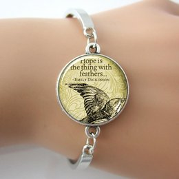 Wholesale Art Glass Silver Emily Dickinson Bracelet Eagle Animal Hope Is The Thing With Feather Letter Bracelet New Faith Jewelry For Gift