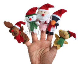 Wholesale 5Pcs Christmas Finger Puppets Cloth Doll Baby Educational Hand Toy Story Talking Props Kids Christmas Gift BB294