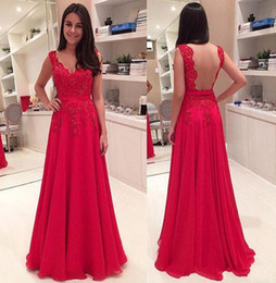 Red Sheer Appliqued Evening Dresses Crew A line Chiffon Sweep Train Formal Party Prom Gowns Hot Beaded Special Gowns High Quality
