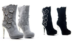 Wholesale New Arrival high heel boots for women nubuck leather medium leg boots grey flower diamond suede platform winter snow boots