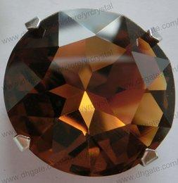 Wholesale 27mm round crystal K91201 smoked topaz crystal fancy stone gem flower shape for DIY jewelry wedding dress shoes rhinestone