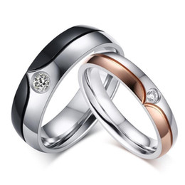 His and Hers Stainless Steel Wedding Rings Free Engrave Couples Promise Bands Mens and Womens Crystal Rings Set
