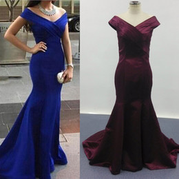2016 Royal Blue Mermaid Evening Dresses Off Shoulder Sweep Train Eveing Gowns vestidos de festa vestido longo