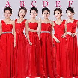 2018 Cheap Fashion Strapless Long A-line Chiffon Bridesmaid Dresses Red Bridesmaid Gowns robe demoiselle d'honneur