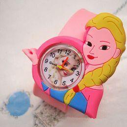 New Frozen Children Slap watch Boys Girls Cute Cartoon Slap Snap Rubber princess Elas Anna Bracelet Wrist Watch Electronic Toys Holiday
