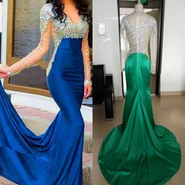 New Royal Blue Long Sleeve Prom Dresses Strapless Sheer Floor Length Mermaid Evening Party Prom Gowns Sexy Cheap Formal Evening Dress