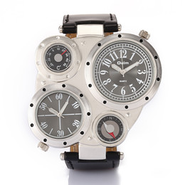 New Arrival Fashion Leather Strap Watches Multi-Function Quartz Sports Men Wrist Watches Brand Oulm