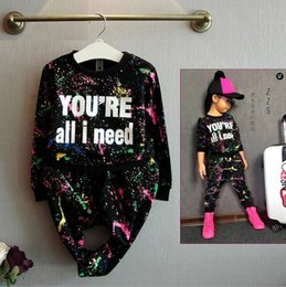 Wholesale Summer Clothing For Baby Girls - new fashion girls tracksuit baby kids sport clothes set coloful letter printed children suit clothing set for 2-7years old hight quality fre