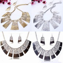 Wholesale Charms Alloy Plated Statement Choker Necklace Earrings Jewelry Set Woman Party Christmas Presents TL9502