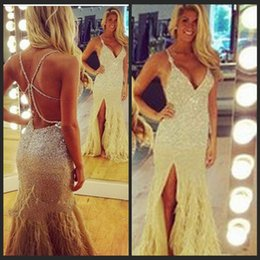 2016 Feather Mermaid Prom Dresses Long Gowns V Neck Spaghetti Strap Sunning Beading Backless Evening Formal Gowns