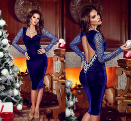 Royal Blue Velvet Prom Dresses 2015 Scoop Sheath Short Evening Dresses With Sleeves Knee Length Backless Sexy Women Dresses With Crystals