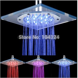 Wholesale Temperature Sensor LED Copper Shower Head Square Stainless Steel Color Overhead Rainfall Shower Head