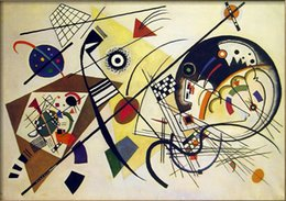 Wholesale DURCHGEHENDER STRICH Wassily Kandinsky Paintings on Canvas Wall Art High quality Hand painted