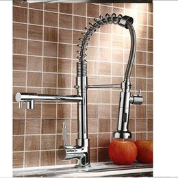 Wholesale And Retail Polished Chrome Finish Kitchen Faucet Dual Sprayers Swivel Spouts Vessel Sink Mixer Tap Deck Mounted