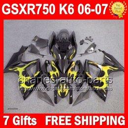 7gifts+Cowl For SUZUKI 2006 2007 Gold flames GSXR750 GSXR-750 GSXR 750 36L316 GSX-R750 K6 06-07 Golden K6 Body GSX R750 06 07 Fairings Kit