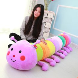 Wholesale 50 cm Colorful catoon caterpillar plush toy doll soft comfy insect pillow cotton worm bug model sofa car cushion kids baby adult gift