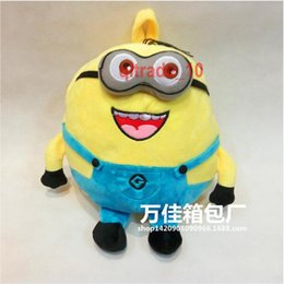 Wholesale 300 TOPB5027 Kids minions plush backpack despicable me stuffed school bag minions stuffed toys plush toys minions book bag snack travel bag