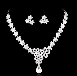 Necklace and Earring Crystal Bridal Jewelry silver plated necklace diamond earrings Wedding jewellery sets for bride Bridesmaids women HT63