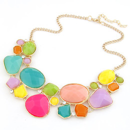 Fashion Summer Jewelry Gold Link Chain Choker Statement Necklace Women Colorful Resin Geometric Necklaces Pendants