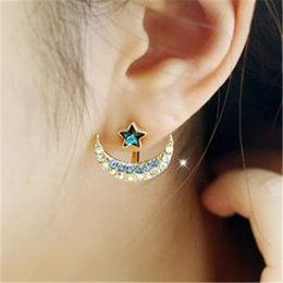 five-pointed star Korean star blue moon hung bright diamond earrings crystal earrings female accessories when B109