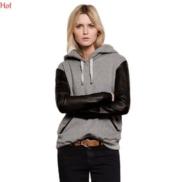 Womens Casual Sweatshirts Sport Leather Full Sleeve Hoodies Street Splicing Style Pocket Pullovers Plus Size Hoodies 2016 Spring SV028321