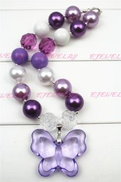 Purple Butterfly purple Beads chunky necklaces for girls and kids CB254