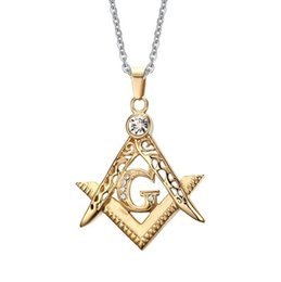 Wholesale Classical Style Stainless Steel k Gold Plated Vintage Masonic Pendants Necklace New Fashion Mens Punk Rock Jewellery
