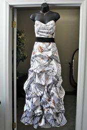 Sweetheart Snow Camo Wedding Dresses With Black Belt and Pick-ups Camouflage Bridal Dresses Realtree Wedding Gowns 2016 Vestidos De Novia