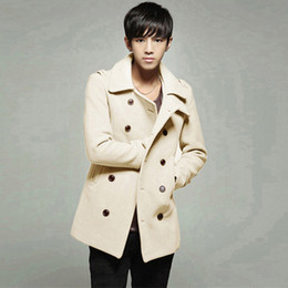 Wholesale Fall Hot Sale Fashion Winter Men s Duffle Coat Color Solid Turn down Collar Double Breasted Long Pea Trench Coats