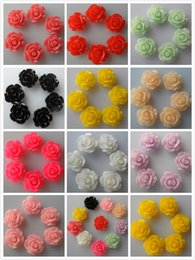 Wholesale-Hot sale 11mm 500pcs bag Mixed Color Resin Flower Resin Rose Flatback Resin Flower For DIY,Phone Decoration, Garment Accessories