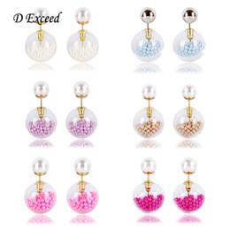 Wholesale Hot Selling Double Sided Earrings for Women Transoarent Glass ABS Pearl Ball Earring Fashion Jewelry European Cute Stud Earing ER154504