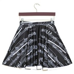 Сексуальная музыка для продажи-Бесплатная доставка Женщины плюс размер S-L Летняя юбка Новые Sexy Slim женщин белые ноты отмечает 3D цифровой печати Плиссированные юбки Оптовые