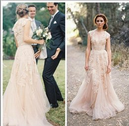 Champagne Lace Wedding Dresses 2015 Vintage V Neck Cap Sleeves Applique Bridal Gown Romantic A Line Long Reem Acra Wedding Gowns BO6089