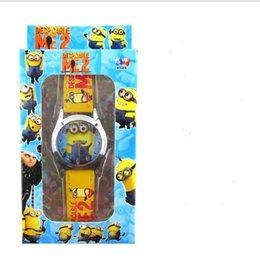 Wholesale cute Minion Watch For Children Kids hot Casual cartoon Despicable Me minions leather Quartz Wristwatches wrist watces for boys girls color