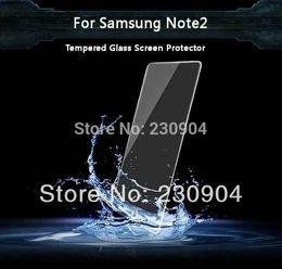 Al por mayor-Nueva llegada 0.33mm Ultra Thin protector de la pantalla 2.5D vidrio templado para el Samsung Galaxy Nota 2 desde nota 2 galaxia delgada fabricantes