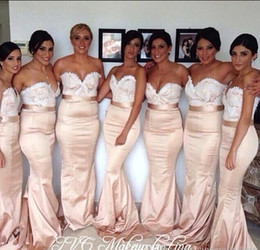 2019 Elegant Sweetheart Mermaid Long Bridesmaid Dresses Lace Top Sweep Train Wedding Party Dresses Beach Prom Dress Evening Gowns