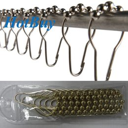 Wholesale Set of Brushed Nickel Bathroom Rollerball Shower Curtain Rings Hooks with Roller Balls x4cm