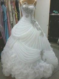 Wedding Gown Dress Luxury Wedding Dresses Crystal Beaded Sequins Ruffles A Line Wedding Dress Sweep Train Ball Gown Elegant Arabic